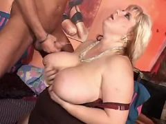 Chesty fatty gets cum on big melons busty fats
