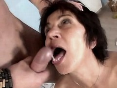 Mature jumps on cock n gets facial busty fats