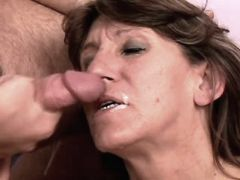 Elder mature tastes cum after fuck busty fats