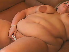 Nourished fatty plays with vibrator busty fats