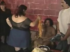 Older chubby slut greedily sucks hard cock on sofa busty fats
