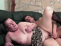 Old chubby mature gets fuck on sofa busty fats