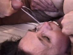 Man fucks two matures cums on face busty fats