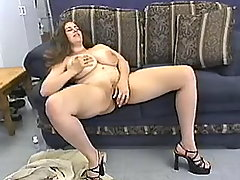 Plump woman plays with green dildo busty fats
