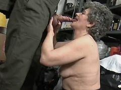 Granny does blowjob in storehouse busty fats