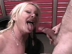 Blonde mature has sex and gets cum busty fats