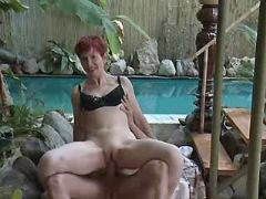 Hot mature jumps on cock near pool busty fats